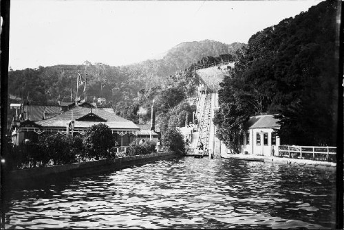 Water chute at Williams Park, Day's Bay, 1912. Photographer unidentified. Reference number: PAColl-7081-53 Permission of the Alexander Turnbull Library, Wellington, New Zealand, must be obtained before any re-use of this image.