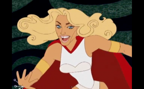 """Gap-toothed cartoon Madge in """"Music"""""""