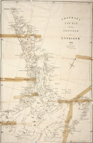 Old Auckland Province, held together by sticky tape. (Sir George Grey Special Collections, Auckland Libraries, NZ Map 2598)